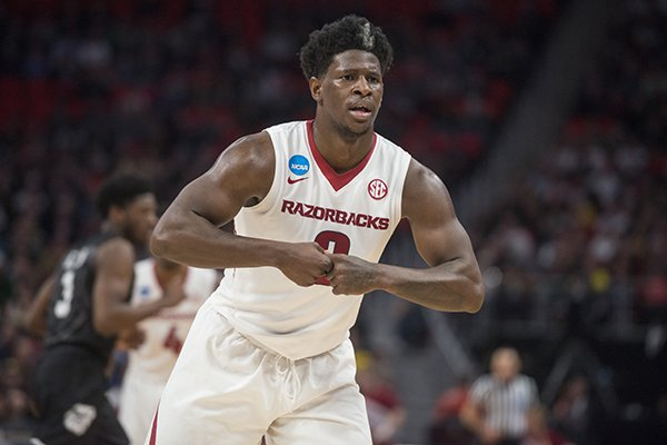 Arkansas guard Jaylen Barford reacts after making a shot during a NCAA Tournament game against Butler on Friday, March 16, 2018, in Detroit.