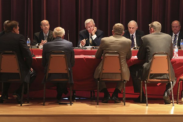 Members of the University of Arkansas Board of Trustees are shown during this September 2016 file photo.