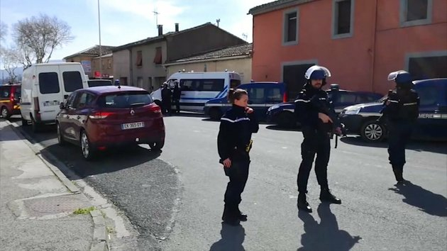 in-this-image-taken-from-la-depeche-du-midi-police-attend-an-incident-in-trebes-southern-france-friday-march-23-2018-french-counterterrorism-prosecutors-are-taking-charge-of-the-investigation-into-the-shooting-of-a-police-officer-in-southern-france-that-has-led-to-an-apparent-hostage-taking-at-a-supermarket