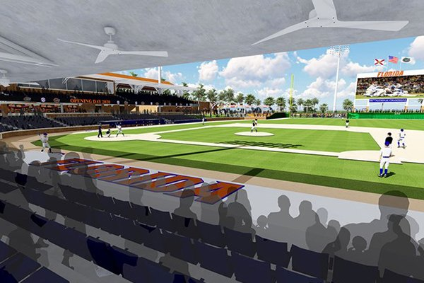 An artist's rendering shows plans for a new baseball stadium at Florida that will open by 2020.