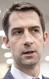 Rep. Tom Cotton, R-Ark., is interviewed by reporters following final votes for the week, at the Capitol in Washington, Thursday, Jan. 25, 2018.