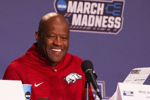 Arkansas' head coach Mike Anderson talks to the press in this 2017 file photo.