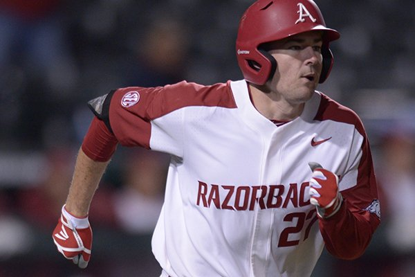 Arkansas designated hitter Evan Lee runs the bases after hitting a home run against Louisiana-Monroe on Tuesday, April 3, 2018, in Fayetteville.