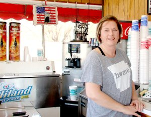 LYNN KUTTER ENTERPRISE-LEADER Katrina Asher has owned the popular American Drive-In in Lincoln for two years. She had worked there off and on for about 10 years but this is her first time to own her own business.