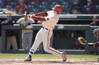 Arkansas outfielder Heston Kjerstad hits a home run during a game against Louisiana-Monroe on Wednesday, April 4, 2018, in Fayetteville.