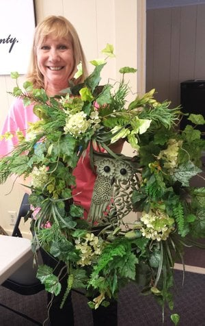 PHOTO SUBMITTED A pie and live auction of over 40 items and a framed print will be part of the McDonald County Historical Society's fifth Annual Spring Benefit for the Historic Courthouse and Museum. Pictured is a wreath designed by Jane Lant.