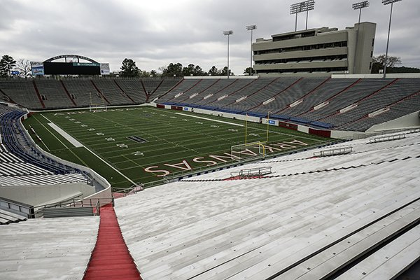This Friday, March 16, 2018, photo shows War Memorial Stadium in Little Rock.