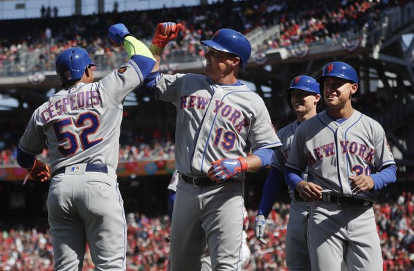 Conforto Circles the Bases to Celebrate His Return to the Mets