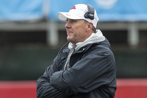 arkansas-coach-chad-morris-watches-during-the-razorbacks-spring-game-saturday-april-7-2018-in-little-rock