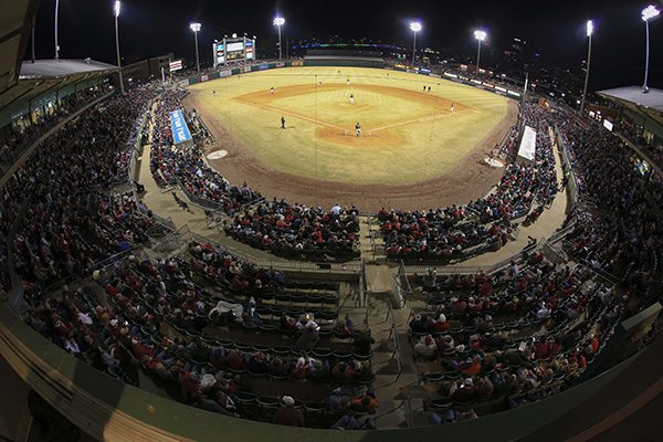 Dickey-Stephens Park is shown during a game between Arkansas and Grambling State on Tuesday, April 10, 2018, in North Little Rock.