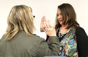 Michelle Rieff, who held a council seat in Highfill, was appointed the mayor and sworn in by Stacie Williamson, the treasurer-recorder and acting mayor on Tuesday, April 10, at the Highfill Council meeting. She was appointed by the vote of all her fellow council members.