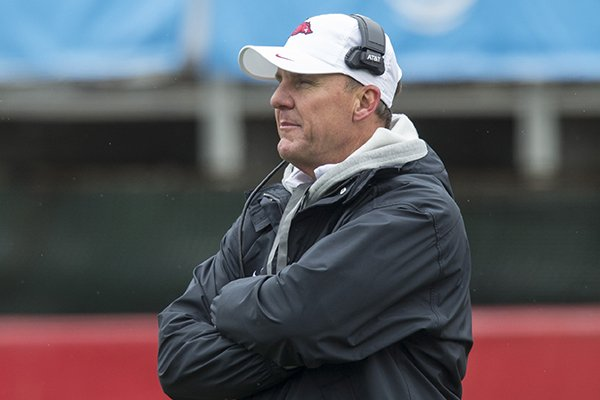 Chad Morris, Arkansas head coach, Saturday, April 7, 2018, during the Arkansas Red versus White Game at War Memorial Stadium in Little Rock.