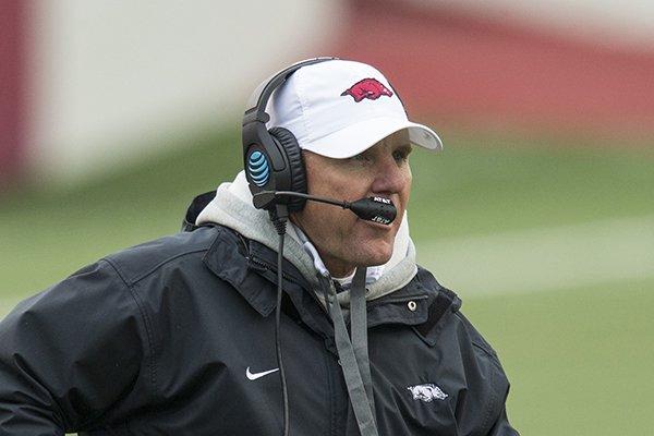 Chad Morris, Arkansas head coach, Saturday, April 7, 2018, during the Arkansas Red versus White Game at War Memorial Stadium in Little Rock.