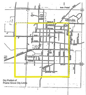 COURTESY PHOTO This map shows the dry portion of Prairie Grove city limits, as far as alcohol sales are concerned. The rest of the city is wet. The section is about one square mile and includes the downtown area. A new committee will circulate petitions for signatures to place a question on the ballot to make all of Prairie Grove wet.