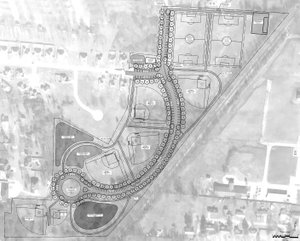 MCCLELLAND CONSULTING ENGINEERS The above drawing shows initial plans for Gentry's park along the railroad track south of Smith Street and east of Avalon. It includes soccer fields and ball diamondas for baseball, softball, T-ball and machine pitch, as well as parking and additional space on the south side of the park area.