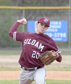 Bud Sullins/Special to the Herald-Leader Siloam Springs junior Baron Meek delivers a pitch during Monday's game against Providence Academy.