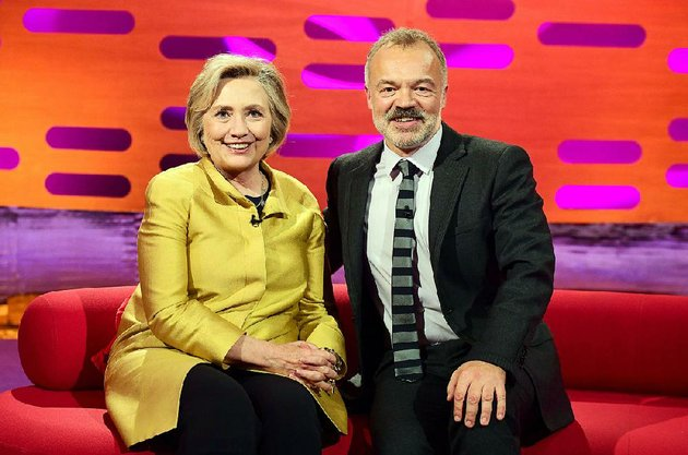 graham-norton-hosts-a-continuous-stream-of-a-list-celebrities-on-his-eponymous-talk-show-here-he-visits-with-hillary-clinton-last-season-season-23-debuts-at-9-pm-friday-on-bbc-america