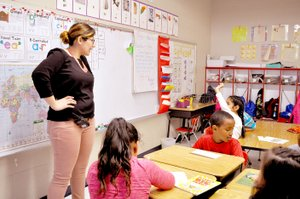 RACHEL DICKERSON/MCDONALD COUNTY PRESS First-grade teacher and native Spanish speaker Mariela Hurtado teaches Spanish to a group of second-graders at Noel Primary School. She teaches Spanish classes to first and second grades at the school.