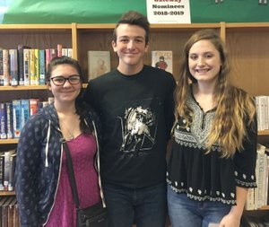 RICK PECK/SPECIAL TO MCDONALD COUNTY PRESS Three students from McDonald County High School were recently elected to offices with the state library club: Brittaney Mann, secretary (left); Ryan King, president; and McKenna Evenson, vice president.