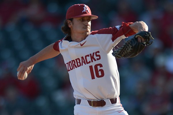 Arkansas pitcher Blaine Knight throws during a game against South Carolina on Thursday, April 12, 2018, in Fayetteville.