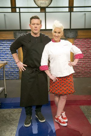 Tyler Florence and Anne Burrell in Worst Cooks in America: Celebrity Edition