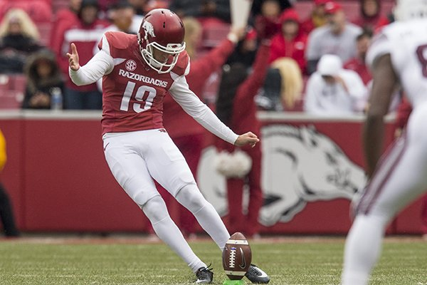 Arkansas' Connor Limpert kicks off during a game against Mississippi State on Saturday, Nov. 18, 2017, in Fayetteville.