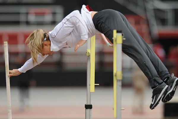 Arkansas' Tori Weeks competes Saturday, April 22, 2017, in the pole vault during the John McDonnell Invitational at John McDonnell Field in Fayetteville.