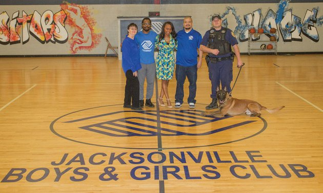 the-jacksonville-boys-girls-club-will-have-its-annual-fundraising-dinner-may-1-at-the-jacksonville-community-center-pictured-from-the-boys-girls-club-are-from-left-barbie-mellinger-board-secretary-and-volunteer-chris-woods-volunteer-laconda-watson-executive-director-mike-williams-programs-and-athletic-director-and-johnny-hicks-board-member-and-guest-speaker-for-the-banquet-hicks-is-the-k-9-officer-for-the-jacksonville-police-department-with-him-is-ace-the-departments-k-9-dog