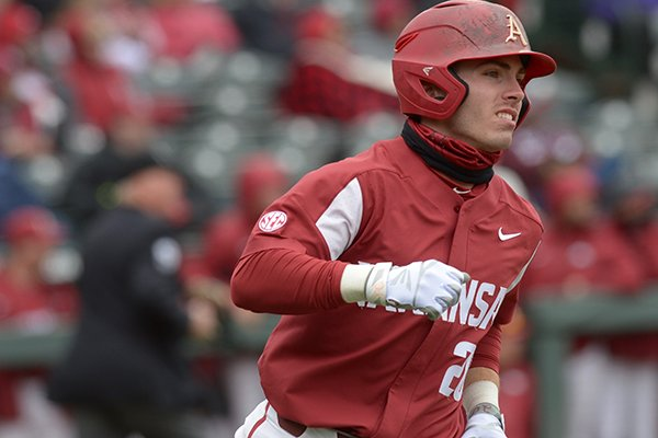 Arkansas second baseman Carson Shaddy runs the bases after hitting a home run during a game against South Carolina on Saturday, April 14, 2018, in Fayetteville.