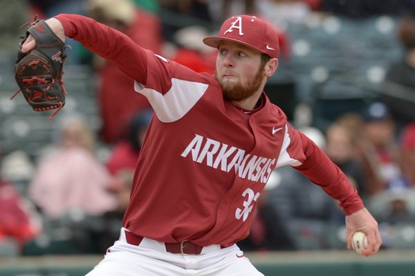 Arkansas pitcher Matt Cronin throws during a game against South Carolina on Saturday, April 14, 2018, in Fayetteville.
