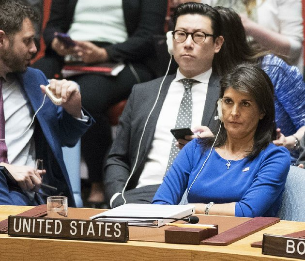 nikki-haley-us-ambassador-to-the-united-nations-listens-saturday-at-the-un-headquarters-as-syrias-representative-bashar-jaafari-condemns-the-targeted-strikes-on-his-country
