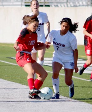 Brian Buckminster/Special to Siloam Sunday Laura Morales, right, scored a hat trick of three goals during Siloam Springs' 10-0 win over Clarksville on Tuesday at Panther Stadium.