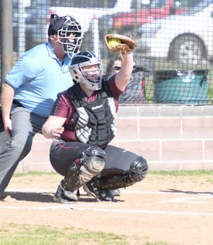 Bud Sullins/Special to Siloam Sunday Siloam Springs senior Danielle Boyster catches a pitch during Tuesday's game against Harrison at La-Z-Boy Softball Complex. Harrison defeated Siloam Springs 16-6.