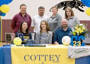 Bud Sullins/Special to Siloam Sunday Siloam Springs senior Kenlie Noel signed a letter of intent Wednesday to play softball and volleyball at Cottey College in Nevada, Mo. Pictured, front from left, are mother Melissa Noel, Kenlie Noel, father Brian Noel; back, Siloam Springs softball coach Scott Wright, Cottey softball coach Mark Skapin, Cottey volleyball coach Marla Foreman and Siloam Springs volleyball coach Joellen Wright.