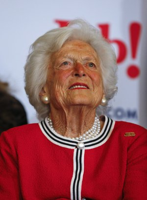 "File-This Feb. 19, 2016, file photo shows former first lady Barbara Bush listening to her son, Republican presidential candidate, former Florida Gov. Jeb Bush speak during a campaign stop at Wade's Restaurant, in Spartanburg, S.C. The former First Lady is making sure to keep her alma mater up to date on what's going on in her world. The Boston Globe reports that Bush wrote a dispatch for Smith College's alumnae magazine this month. She says: ""I am still old and still in love with the man I married 72 years ago."" Bush dropped out of Smith College in 1944 and married George H.W. shortly after. The school awarded her an honorary degree in 1989. (AP Photo/Paul Sancya, File)"