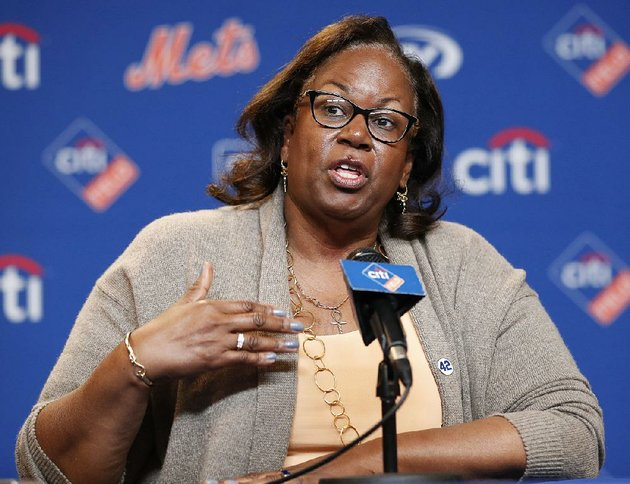 sharon-robinson-daughter-of-jackie-robinson-speaks-to-reporters-before-a-baseball-game-between-the-new-york-mets-and-the-milwaukee-brewers-on-jackie-robinson-day-sunday-april-15-2018-in-new-york