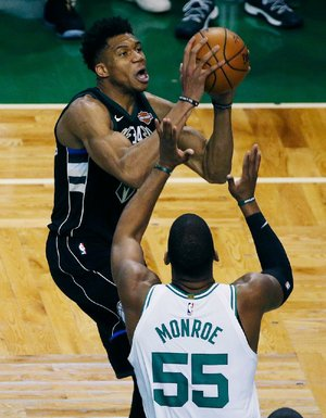 Milwaukee forward Giannis Antetokounmpo (34) scored 35 points in the Bucks' 113-107 loss to the Boston Celtics on Sunday in Game 1 of their NBA first-round playoff series.