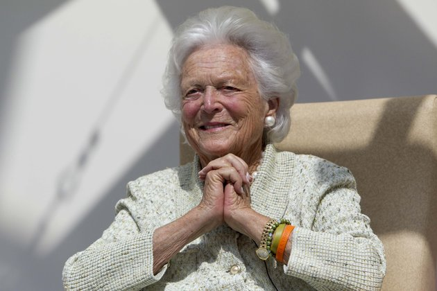 file-in-a-thursday-aug-22-2013-file-photo-former-first-lady-barbara-bush-listens-to-a-patients-question-during-a-visit-to-the-barbara-bush-childrens-hospital-at-maine-medical-center-in-portland-maine-ap-photorobert-f-bukaty-file