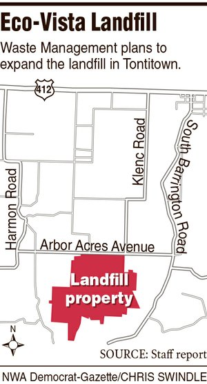 A map showing the location of the Eco-Vista Landfill