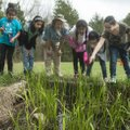Joanie Patterson (third from left) talks about wildlife Friday to fourth-graders from Brighton Park ...