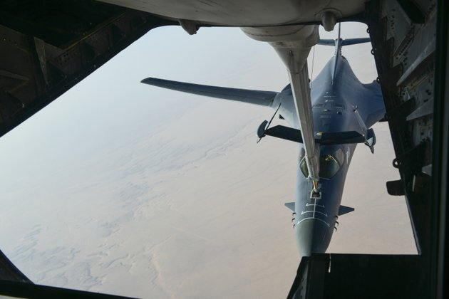 in-this-image-released-by-the-department-of-defense-a-us-air-force-b-1-bomber-separates-from-the-boom-pod-after-receiving-fuel-from-an-air-force-kc-135-stratotanker-on-april-13-2018-en-route-to-strike-chemical-weapons-targets-in-syria-president-donald-trump-declared-mission-accomplished-for-a-us-led-allied-missile-attack-on-syrias-chemical-weapons-program-but-the-pentagon-said-the-pummeling-of-three-chemical-related-facilities-left-enough-others-intact-to-enable-the-assad-government-to-use-banned-weapons-against-civilians-if-it-chooses-department-of-defense-via-ap