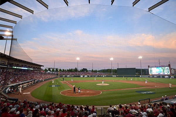 Arkansas takes on Missouri State Monday, June 5, 2017, during the final game of the NCAA Fayetteville Regional at Baum Stadium in Fayetteville.