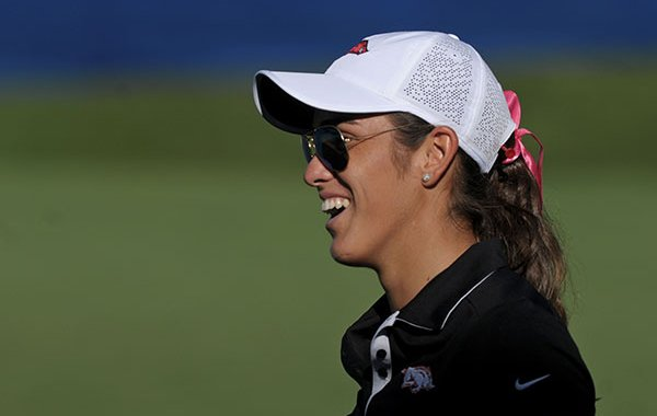 Arkansas golfer Maria Fassi smiles after finishing her round on Monday, June 19, 2017, during the local qualifier for the LPGA Walmart Northwest Arkansas Championship presented by P&G at Pinnacle Country Club in Rogers.