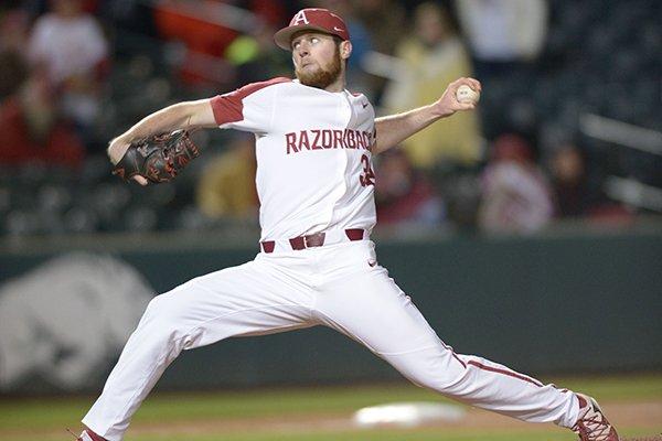 Arkansas pitcher Matt Cronin throws during a game against Auburn on Friday, April 6, 2018, in Fayetteville.