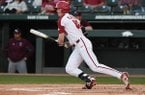 Arkansas outfielder Heston Kjerstad bats against Missouri State on Tuesday, April 17, 2018, in Fayetteville.