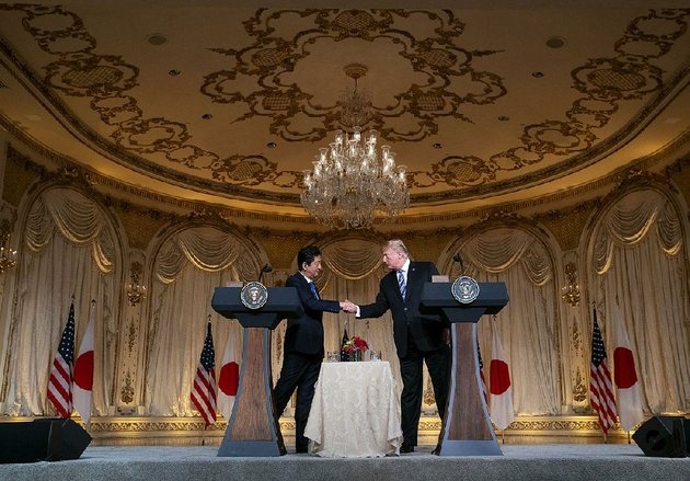 japanese-president-shinzo-abe-and-president-donald-trump-hold-a-news-conference-wednesday-at-trumps-estate-in-palm-beach-fla-trump-said-the-leaders-were-unable-to-reach-a-deal-to-exempt-japan-from-new-us-steel-and-aluminum-tariffs