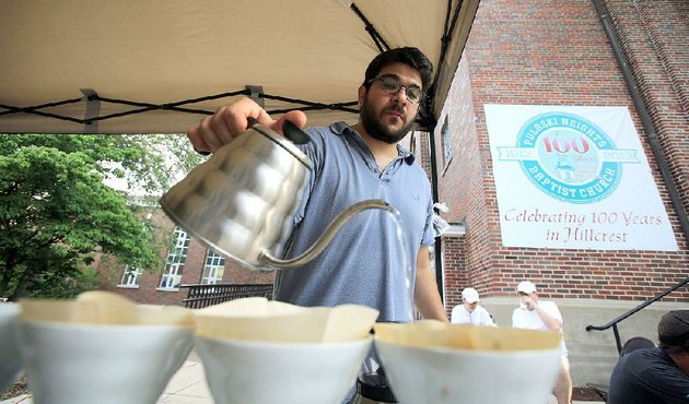 mylo-coffee-co-wont-be-expanding-or-creating-a-new-restaurantentertainment-space-in-the-former-afterthought-on-kavanaugh-boulevard-in-little-rock-owner-stephanos-mylonas-shown-making-coffee-at-the-hillcrest-farmers-market-in-2013-issued-a-statement-last-week-indicating-he-was-giving-up-the-project-hinting-that-it-was-no-longer-feasible-fi-nancially-and-putting-it-up-for-potential-buyers