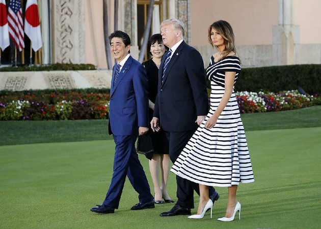 japanese-president-shinzo-abe-and-his-wife-akie-walk-with-president-donald-trump-and-melania-trump-at-trumps-mar-a-lago-estate-tuesday-in-palm-beach-fla-despite-appearances-the-leaders-trade-talks-during-the-florida-visit-were-tense-tough-and-resulted-in-little-progress-according-to-two-us-officials