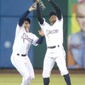 Naturals center fielder Donnie Dewees (left) collides with second baseman Erick Mejia on Thursday as...