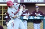Eric Cole prepares to hit a grand slam home run during the second inning of their NCAA college baseball game against Mississippi State in Starkville, Miss., Friday, April 20, 2018.